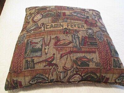 "20"" Sq Throw Pillow Hunting Fishing Cabin Tapestry Pheasant Fish Lodge Lantern"