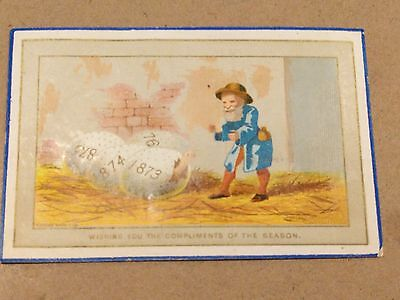 """#Original 1800s Victorian Paper Trade Card """"Compliments of the Season"""" 4 x 2.5"""""""