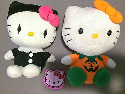 Hello Kitty 2012 Sanrio Mime Clown Halloween Pumpkin TY Beanie Plush Eraser LOT