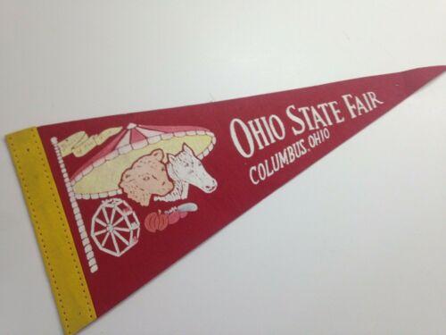 "Ohio State Fair Vintage Felt Souvenir Pennant Columbus 12"" x 5"" red"
