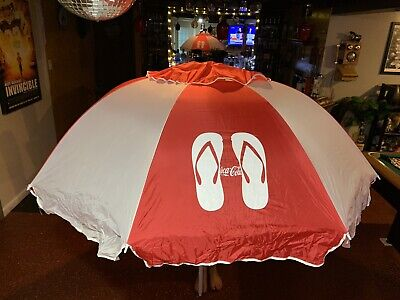 Vintage Coca Cola Sandals/flip Flops Beach Umbrella Excellent Condition!!