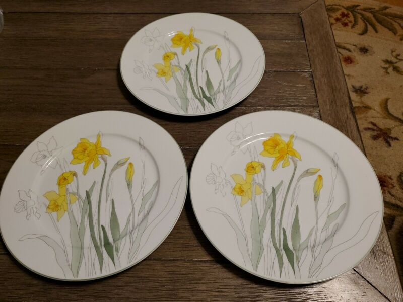 "VINTAGE Block Spal Watercolors Daffodil Set of 3 - 10"" Dinner Plates"