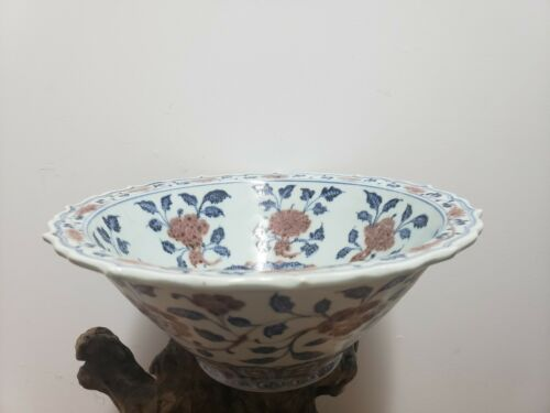 Chinese  Red and Blue  Porcelain Large Bowl  With  Mark