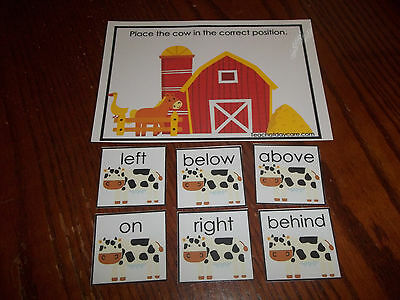 Laminated Farm Cow Positional Learning game. Prepositions.  Preschool Kinderg