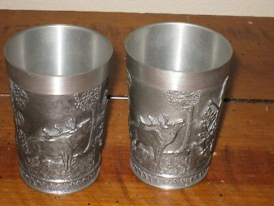 - Two (2) Rein Zinn Pewter Cups Hunting Scene West Germany