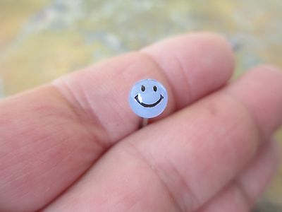 1-Piece Smiley Glow in the Dark Tongue Ring Barbell 14g 12mm 14mm 16mm Blue