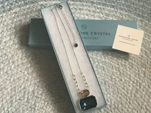 New Touchstone Crystal Swarovski Montana Blue Necklace Retired Color NIB