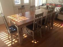 Rustic White Timber Dining Table with 6 Chairs Woolloomooloo Inner Sydney Preview