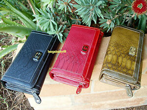 New-G-Ladies-Snakeskin-Tab-Bi-Tri-fold-Leather-Wallet-Zip-Money-Organiser-Clutch