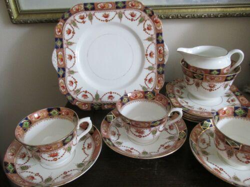Vintage Coldough England Tea Set Of 3 Cup And Saucer Cake Dessert Plate More