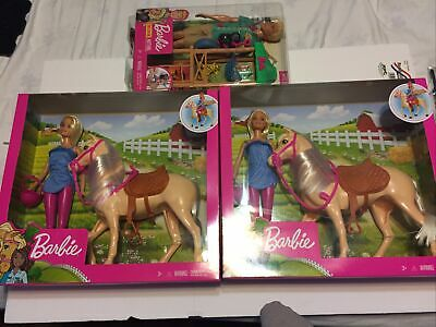 Blonde Barbie Doll with Riding Horse & Accessories NEW NIB Free Bonus LOT