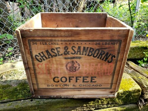 Rare Antique Chase & Sanborn Seal Brand Coffee Wooden Crate W/ Original Label