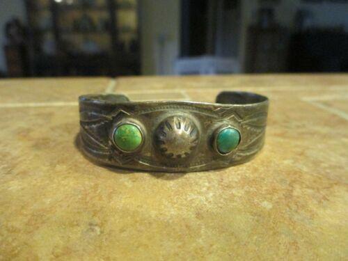 REAL OLD Fred Harvey Era Navajo Sterling Turquoise Stamped DESIGN Bracelet