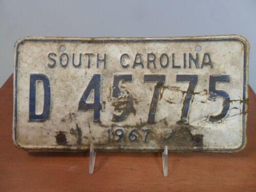 Vintage, 1967, SOUTH CAROLINA, SC, License Plate, D 45775, Original White Plate