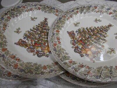 Queen's Myott Factory SEASONS GREETINGS -  Lot of 4 Dinner Plates