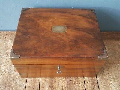 ANTIQUE BRASS BOUND WALNUT WRITING SLOPE with secret drawers+ key/ restoration
