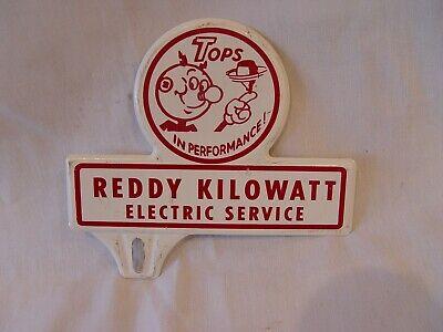 Vintage Reddy Kilowatt Electric Service Tops In Performance License Plate Topper