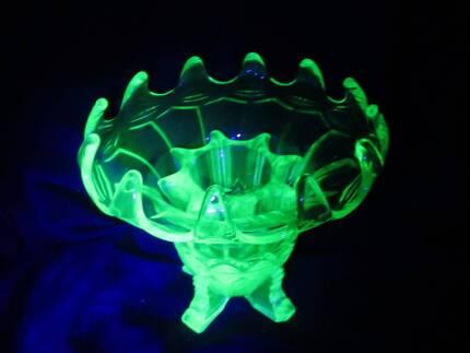 Uranium Glass LArge VAse and Flower Frog