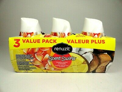 Plumeria Scent (New 3 Pack Renuzit Scent Swirls Air Freshener Gel Plumeria Coconut &)