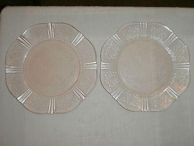 2  VINTAGE MACBETH EVANS AMERICAN SWEETHEART PINK DEPRESSION GLASS SALAD PLATES