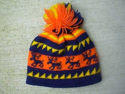 Vintage Knit Reindeer Candy Corn Hat Pom Pom