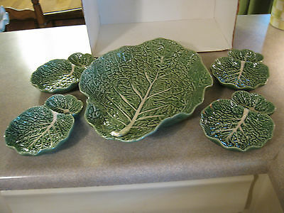 Bordallo Pinheiro Green Cabbage Serving Set of 5 Large Shallow Bowl 4 Divided
