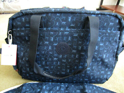 Kipling TM5558 Popper Baby Diaper Bag with Changing Pad Monkey Mania Blue $159