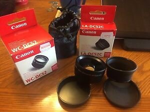 Canon WC-DC52 Wide Converter Lens and LA-DC52C Adapter