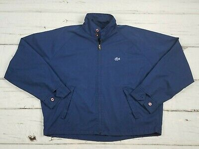 Vintage Lacoste Windbreaker Jacket Mens Size XL Navy Blue Alligator Logo Zip Up