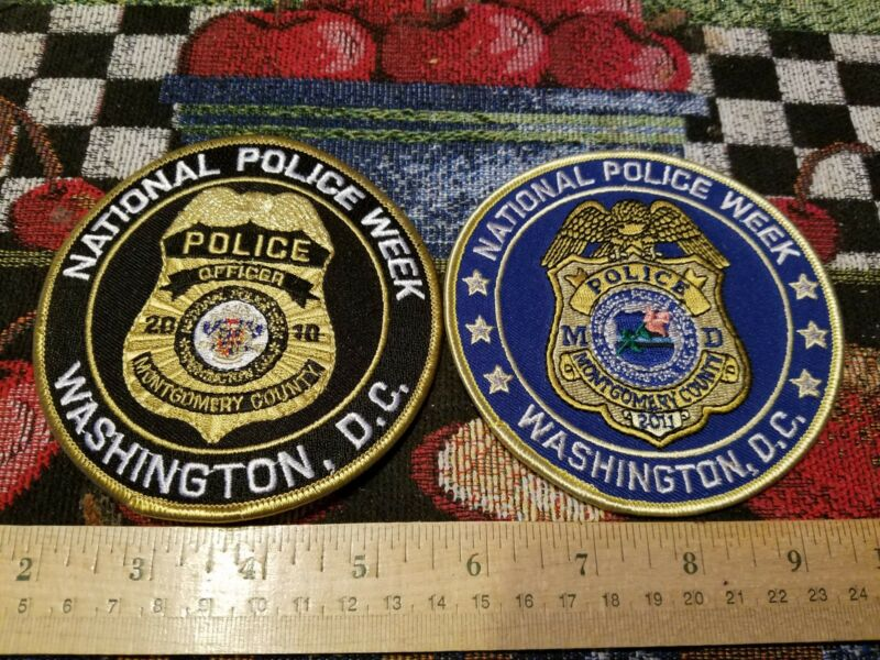 POLICE PATCH MONTGOMERY COUNTY MARYLAND POLICE WEEK SET OF TWO 2010 2011 PATCHES