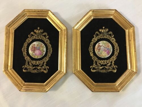 """Vintage Lot of 2 Andrew Kolb & Son Gold Framed Wall Plaques  8 1/4"""" x 6 1/4"""""""