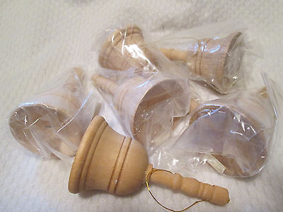 """6 Unfinished Wood  Bell Ornament Ready to Paint  3-1/8"""""""