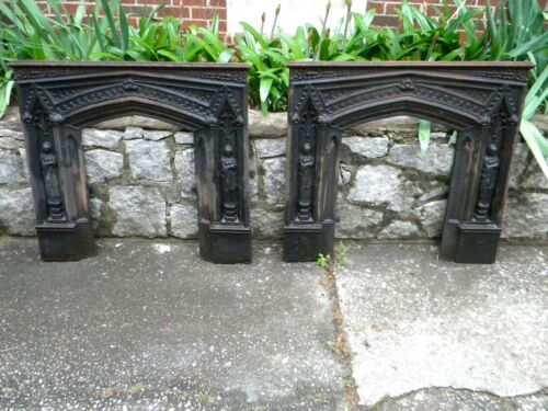 Vintage, Cast Iron Gothic Fireplace Surrounds, a matching pair.