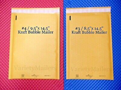 12 Kraft Bubble Envelope Combo 2 Large Sizes Self-sealing Padded Mailers