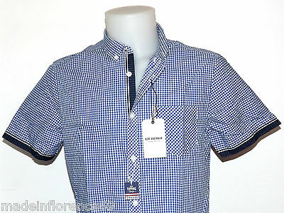 SCONTO 30% BEN SHERMAN CAMICIA TIPPED SLEEVE GINGHAM ROYAL BLUE MA12556 XS S M