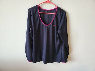 Old Naval forces Active Womens Long Sleeve Activewear Top Black Pink V-Neck go for a run