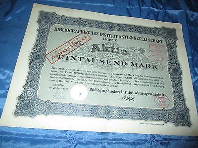 histor. AKTIE , Bibliographisches Institut AG LEIPZIG  1915 // 1000 Mark ,Nr.091
