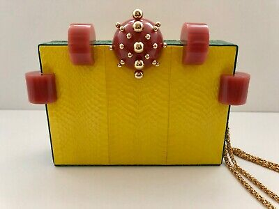 Tonya Hawkes Green & Yellow Snakeskin Box Clutch w/Pink & Gold Accents Brand New