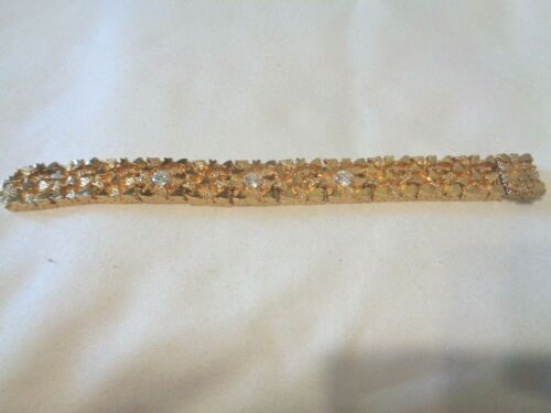 "Vintage Heavy Solid Blanca Gold Tone Rhinestone/CZ Bracelet 6-3/8"" x 9/16"" (#40)"