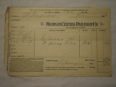ANTIQUE 1896 MICHIGAN CENTRAL RAILROAD COMPANY FREIGHT BILL