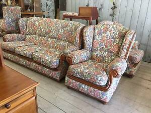 3PCS Wing Back Lounge Set Suite Couch Armchairs Timber Frame Queenstown Port Adelaide Area Preview