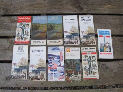 (11) Vintage Texaco Enco Shell American Esso Road Maps B7823