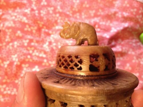 Vintage Hand Carved Alabaster Elephant On Pedistal Carving