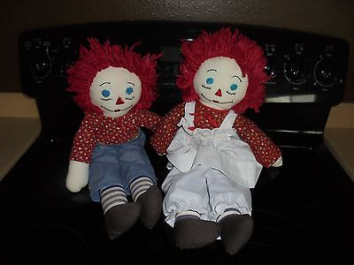 "LARGE HANDMADE RAGGEDY ANN AND ANDY PLUSH DOLLS 18""!!!!"