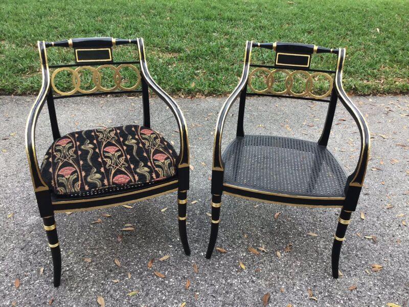 Pr Historic Charleston Baker Furniture Ebonized and Gold Regency Style Armchairs