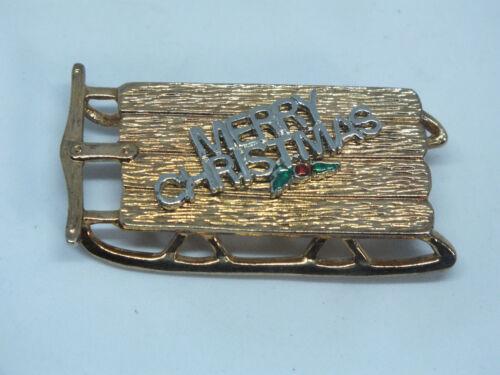 "Beautiful Brooch Pin Gold Tone Holiday Merry Christmas Sled 1 3/4 x 1"" NICE"