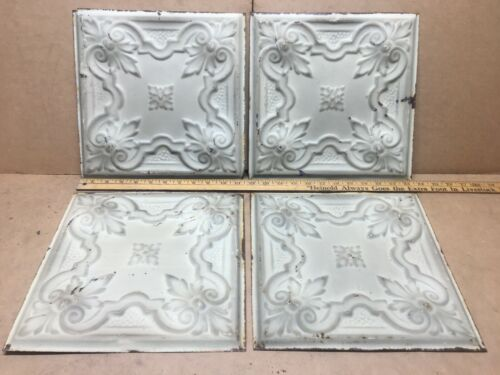 """4pc Lot of 11.5"""" x 11.5"""" Antique Ceiling Tin Vintage Reclaimed Salvage Art Craft"""
