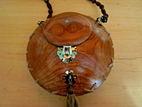 Vintage Handmade Round Wooden Purse Handbag Leather Trim Lined Mirror OOAK