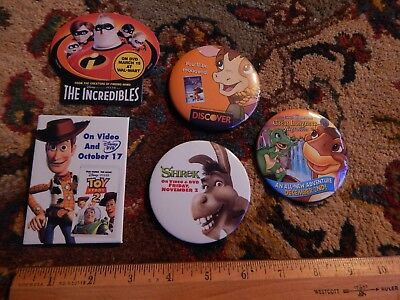Animated Movie Film Ltd Pins  Lot Of 5  Toy Story 2   Shrek   The Incredibles