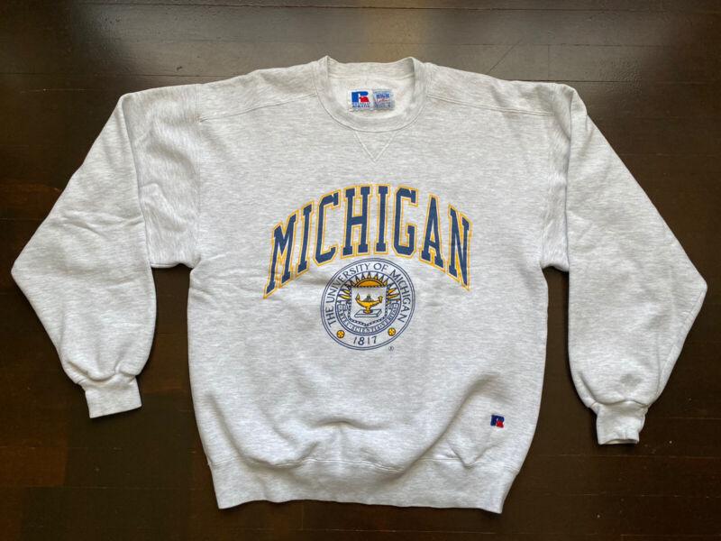 Vintage University of Michigan Wolverines Gray Sweatshirt Fits Mens M/L USA 90s